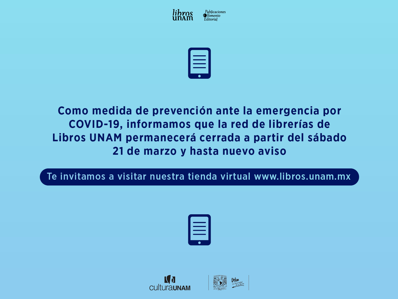 Medidas de prevención COVID 19, marzo 2020, Libros UNAM